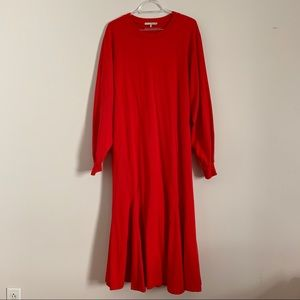 Oak and Fort red cotton maxi flare dress